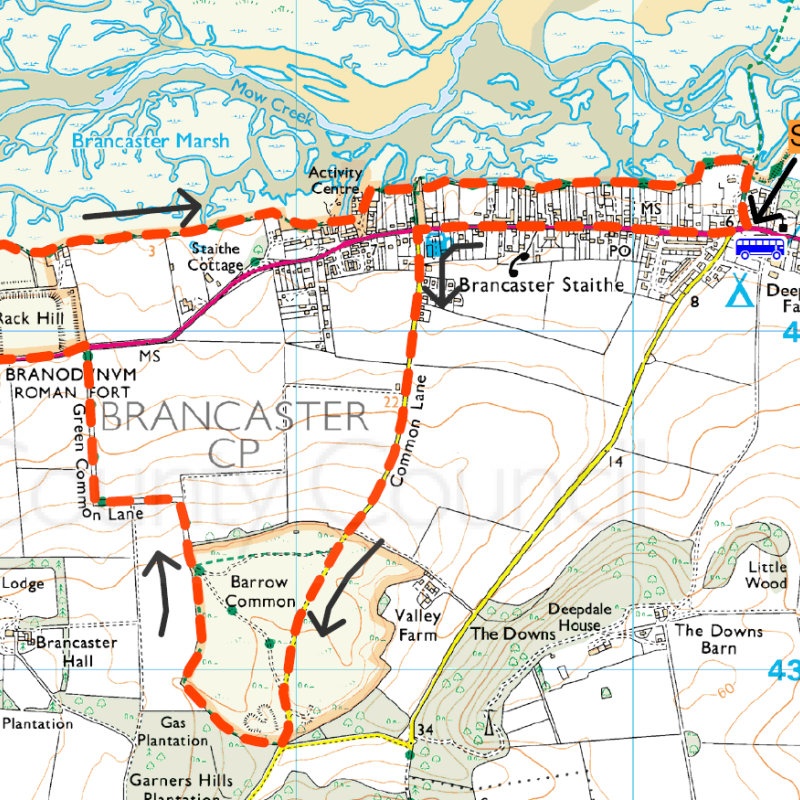Brancaster Staithe Circular Walk - Head up to the high ground of Barrow Common and enjoy stunning views before walking alongside the creeks of Brancaster Marsh and finishing back near the small coastal hub at Burnham Deepdale