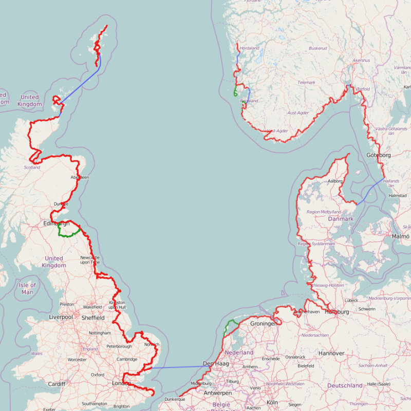 North Sea Cycle Route - The North Sea Cycle Route is a 6,000km route based on existing national, regional and local cycle routes in Belgium, the Netherlands, Germany, Denmark, Sweden, Norway, Scotland and England.