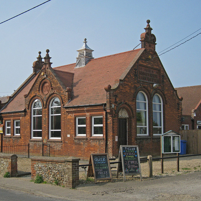 Brancaster Village Hall / Simms Reeve Institute - Available to hire for parties, weddings, exhibitions, group activities etc. The site includes a post office, social club, with sports court and playing field to the rear.