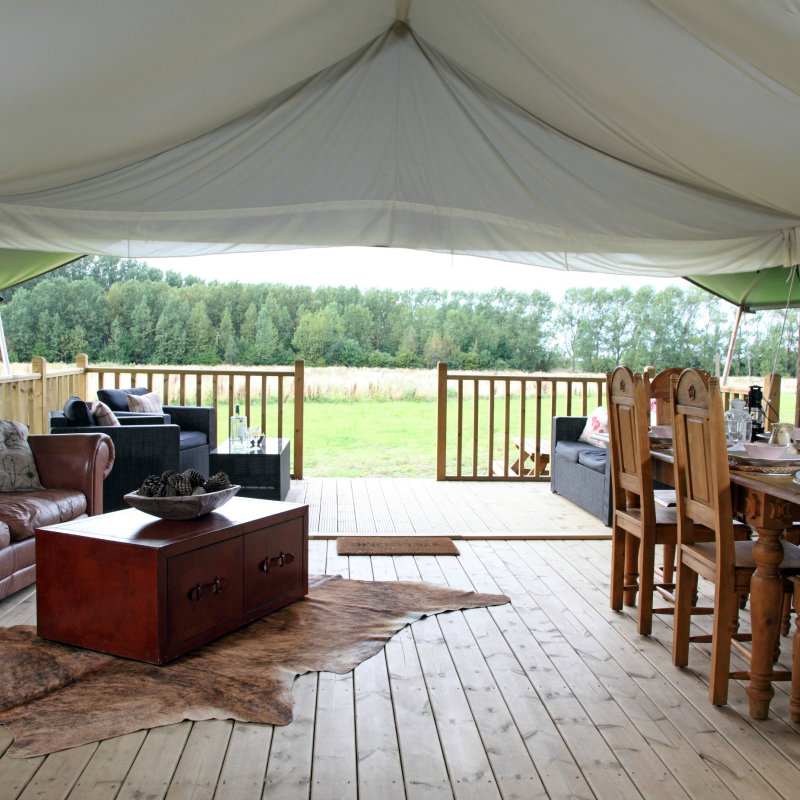 Wild Luxury Thornham Bay - New for 2012 our Wild Camp at Drove Orchards right down by the beach just outside the pretty village of Thornham.  Our amazing Serengeti VIP canvas safari lodges have everything from power showers to warm ranges and comfortable bedrooms and sundecks.