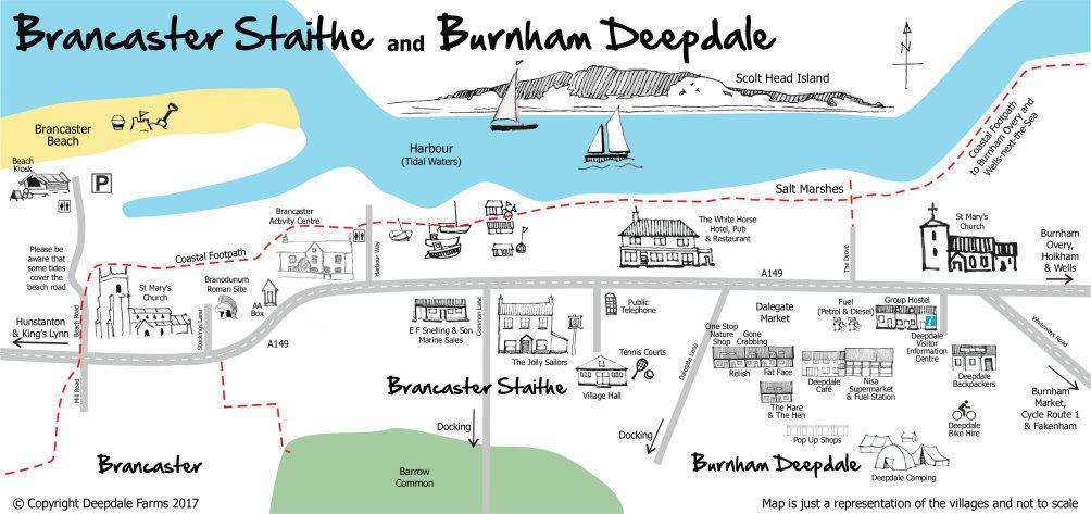 Map of Brancaster Staithe and Burnham Deepdale on the beautiful North Norfolk Coast - Brancaster Staithe and Burnham Deepdale are on the beautiful North Norfolk Coast, approximately half way between Hunstanton and Wells-next-the-Sea, just over the hill from Burnham Market.